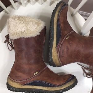 Merrell Brown Leather Faux Fur Winter Boots Size 8